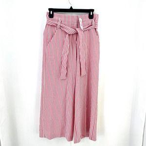NY&C Stripe Wide Leg PaperBag Waist Cargo Pant